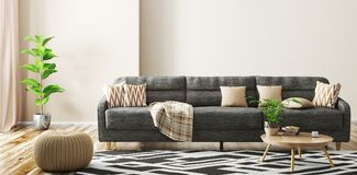 Interno del salone con la rappresentazione del sofà 3d illustrazione vettoriale