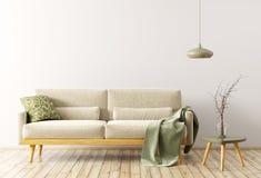Interno del salone con la rappresentazione del sofà 3d illustrazione di stock