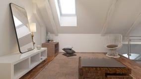 Interno del salotto con la sedia nell'ambito di una pendenza del tetto Fotografie Stock