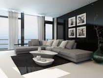 Interno del salotto con una parete scura di accento Fotografie Stock