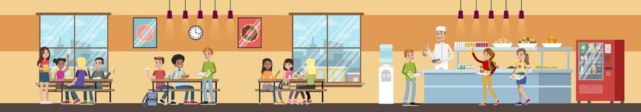 Interno del self-service di scuola illustrazione di stock