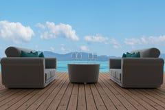 Interno del sofà nel seaview nuvoloso del cielo blu nella rappresentazione 3D Immagine Stock Libera da Diritti