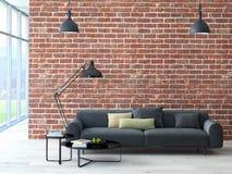 Interno del sottotetto con il muro di mattoni ed il tavolino da salotto Fotografia Stock Libera da Diritti