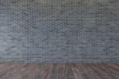 Interno del sottotetto con il muro di mattoni grigio in bianco ed il pavimento di legno royalty illustrazione gratis