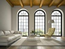 Interno del sottotetto di progettazione moderna con la rappresentazione bianca del sofà 3D Fotografia Stock