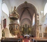 Interno del tempio medievale di Felsoors, Ungheria Immagini Stock Libere da Diritti