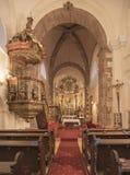 Interno del tempio medievale di Felsoors, Ungheria Fotografie Stock Libere da Diritti
