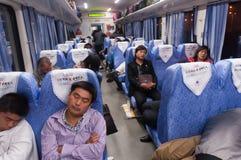 Interno del tren en China Imágenes de archivo libres de regalías