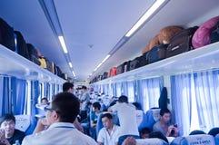 Interno del tren en China Imagen de archivo libre de regalías