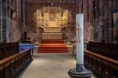 Interno dell'abbazia di Shrewsbury nello Shropshire Fotografia Stock