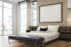 Interno dell'alta società beige della camera da letto, manifesto Fotografie Stock Libere da Diritti