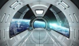 Interno dell'astronave con la vista sugli elementi della rappresentazione della terra 3D della t illustrazione di stock