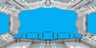 Interno dell'astronave con la vista sulla rappresentazione blu delle finestre 3D Immagine Stock Libera da Diritti