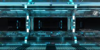 Interno dell'astronave con la vista sulla rappresentazione nera della finestra 3D Fotografia Stock
