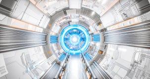 Interno dell'astronave del corridoio di Sci che conduce ad un concetto futuro della tecnologia di AI del computer eccellente illustrazione di stock