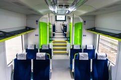 Interno dell'automobile del treno diesel PESA 730M DP3 del Belar Fotografia Stock Libera da Diritti