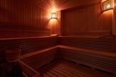 Interno dell'interno finlandese di sauna Fotografia Stock