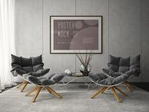 Interno dell'illustrazione della sala 3D di progettazione moderna Immagini Stock