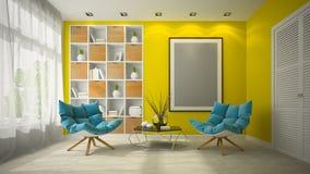 Interno dell'illustrazione della sala 3D di progettazione moderna Fotografia Stock Libera da Diritti