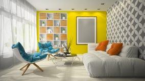 Interno dell'illustrazione della sala 3D di progettazione moderna Fotografia Stock