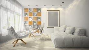 Interno dell'illustrazione della sala 3D di progettazione moderna Immagine Stock