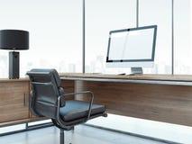 Interno dell'ufficio con il monitor del computer e della tavola rappresentazione 3d Fotografie Stock