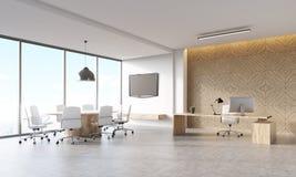 Interno dell'ufficio con il pannello decorativo Immagine Stock
