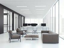 Interno dell'ufficio con le aree di lavoro rappresentazione 3d Immagine Stock