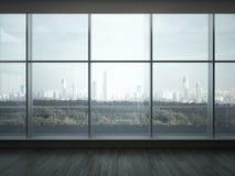 Interno dell'ufficio con le grandi finestre Fotografia Stock Libera da Diritti