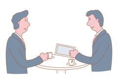 Interno dell'ufficio della Banca Istituzione finanziaria interna elegante I clienti femminili e maschii stanno vicino ai contator illustrazione vettoriale