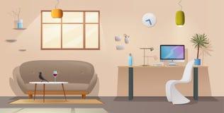 Interno dell'ufficio e del salone Appartamento moderno scandinavo o progettazione del sottotetto Illustrazione di vettore del fum Fotografia Stock