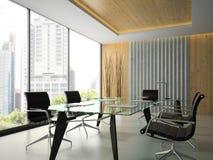Interno dell'ufficio moderno con la tavola di vetro 3D che rende 5 Fotografia Stock