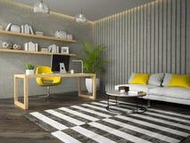 Interno dell'ufficio progetti moderno con la rappresentazione della tavola 3D del coffe Fotografia Stock