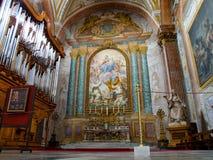 Interno della basilica cattolica di St Mary degli angeli ed i martiri a Roma in Italia Fotografia Stock