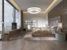 Interno della camera da letto accogliente nella progettazione moderna con la poltrona, la lampada di pavimento, l'unità TV ritrat illustrazione di stock