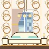 Interno della camera da letto con il letto illustrazione vettoriale