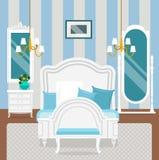 Interno della camera da letto con mobilia nello stile classico Immagine Stock Libera da Diritti