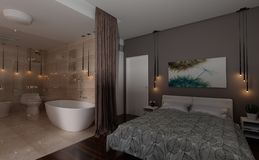 interno della camera da letto della rappresentazione 3D Fotografia Stock Libera da Diritti