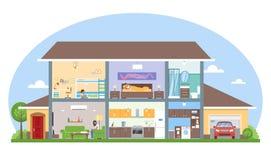 Interno della casa con l'illustrazione di vettore della mobilia della stanza Casa moderna dettagliata nello stile piano Immagini Stock