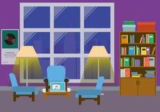 Interno della casa con la grande finestra Immagine Stock