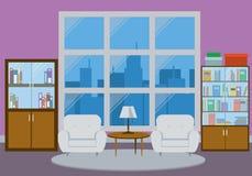 Interno della casa con la grande finestra Immagine Stock Libera da Diritti