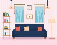 Interno della casa con mobilia ed il sofà, scaffale per libri, lampada con la striscia su fondo Illustrazione piana di vettore di illustrazione vettoriale