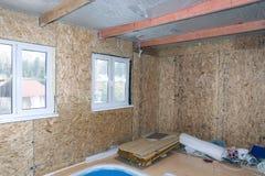 Interno della casa di legno in costruzione Immagine Stock Libera da Diritti
