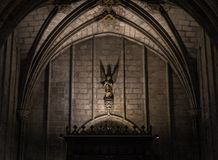 Interno della cattedrale dell'incrocio e del san santi Eulalia, il 31 marzo 2013 a Barcellona, Spagna Fotografia Stock