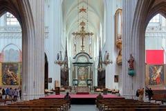Interno della cattedrale della nostra signora a Anversa, Belgio Fotografie Stock