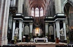 Interno della cattedrale della st Bavo, Gand Immagini Stock