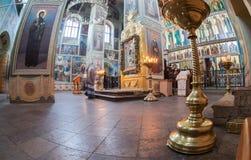 Interno della cattedrale di presupposto nel monastero di Iversky Immagine Stock
