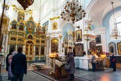 Interno della cattedrale di Spirito Santo a Minsk Fotografie Stock