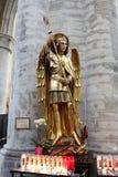 Interno della cattedrale di St Michael e della st Gudula, Bruxelles, Belgio Immagine Stock Libera da Diritti