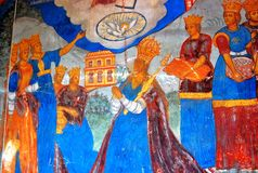 Interno della chiesa con gli affreschi del XVII secolo originali Fotografie Stock Libere da Diritti
